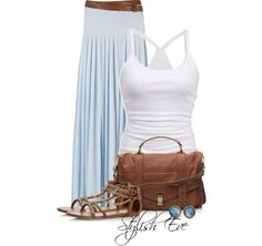 I love the powder blue maxi skirt