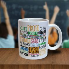 "Taza ""Un profe guía, respeta, orienta..."" Teachers Day Gifts, Presents For Teachers, Teacher Gifts, Cool Mugs, Teachers' Day, Vinyl Shirts, Silhouette Projects, Mug Designs, Diy Projects To Try"