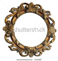 stock photo : Handmade big engraved wooden frame mirror isolated