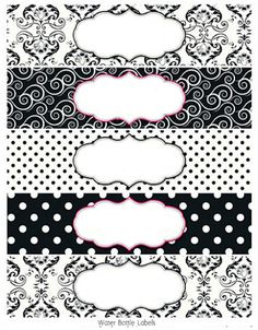 Black and White Damasks: Free Printable Toppers and Labels. Printable Water Bottle Labels, Printable Tags, Free Printables, Soap Labels, Soap Packaging, Creation Bougie, Free Label Templates, Etiquette Vintage, Free Frames