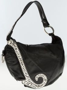 Fendi Black Leather Shoulder Bag with Sterling Silver Accents and Hardware  Leather Shoulder Bag 62ef7b532f5a7