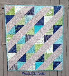 Looking Up by Material Girl Quilts, via Flickr Layer cake used for large HST blocks - easy to adjust the size