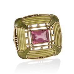 Louis Comfort Tiffany Rubelite Tourmaline  Plique-a-Jour Enamel And Gold Brooch.......