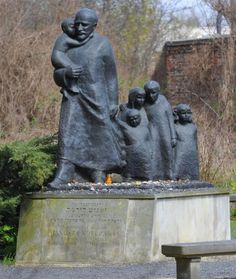 A monument honoring Janusz Korczak.  After spending many years working as director of an orphanage in Warsaw, he refused freedom & stayed with his orphans when the institution was sent from the Ghetto to the Treblinka extermination camp, during the Grossaktion Warsaw of 1942.  This is located at the Okopowa Street Jewish Cemetery in Poland.