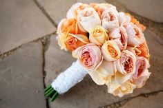 Peach bridal bouquet, romantic bridal bouquet, lace,garden roses, juliet rose