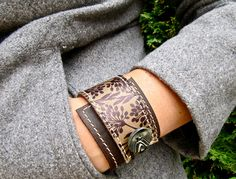 Leather Wrap Bracelet Cuff Florance Print in Brown & by Hollyhawk, $27.50