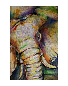 Elephant Watercolor print 18x24 by kitsunderland on Etsy, $150.00
