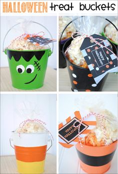 Halloween Treat Buckets & Free Printable Halloween Gift Tags