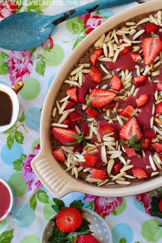 Strawberry Baked Steel Cut Oatmeal | recipe on FamilyFreshCooking.com #vegan