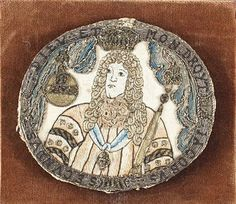 """""""at Bonham's, Knowle, Lot 364, a late 17th century needlework handheld mirror of oval form, one side depicting James II with a crown, orb and sceptre sold for £2,875 inclusive of buyer's premium"""""""
