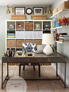 Loving this office, ikea mixed with other finds  http://www.bhg.com/rooms/home-office/storage/home-office-storage/