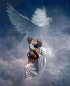 Lord Jesus holding child and Holy Spirit Dove Prophetic Art. Image Jesus, Jesus E Maria, Padre Celestial, Saint Esprit, Prophetic Art, Jesus Art, Angels Among Us, Jesus Is Lord, Christian Art