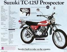 Suzuki 125 Enduro Suzuki Gsx, Suzuki Bikes, Suzuki Cafe Racer, Scrambler Motorcycle, Vintage Bikes, Vintage Motorcycles, Cars And Motorcycles, Touring Motorcycles, Motorcycle Posters