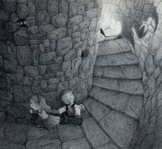 Scary Steps - PRINT of a Colored Pencil Illustration - Childrens Picture Book Art - Castle Kids - Black and White