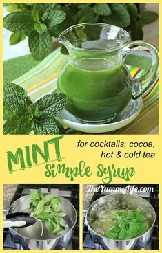 Use this syrup to add refreshing mint flavor to cocktails, hot cocoa, lemonade, sparkling water, hot and cold tea. Mint Recipes, Herb Recipes, Cooking Recipes, Mint Simple Syrup, Homemade Syrup, Summer Drinks, Spring Cocktails, Fresh Herbs, Herbalism
