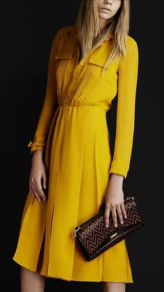 Would you call this colour 'mustard'? There must be a nicer word to describe this gorgeous silk, pintuck, a-line Burberry dress? I would love this in another color. Dress Skirt, Dress Up, Burberry Dress, Yellow Fashion, Mellow Yellow, Mustard Yellow, Mode Inspiration, Work Fashion, Fashion Fashion