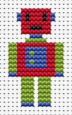 Easy Peasy Robot cross stitch kit