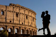Candid and Spontaneous Colosseum Proposal in Rome. Professionally photographed at a distance by the Andrea Matone studio photographers Couple Silhouette, Surprise Wedding, Romantic Moments, Photographic Studio, Photography Services, Rome Italy, Couple Posing, Couple Pictures, Engagement Photography