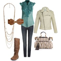cute cream jacket and love the ruffled aqua top! i like everything but the belt...
