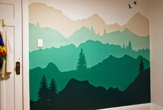 mountain mural inspiration really like the lines of this mtn range and the blues home decor. Black Bedroom Furniture Sets. Home Design Ideas