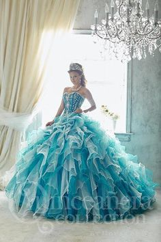 Put on a gown that will make your event something extraordinary, with tulle ruffles, symmetrically beaded bodice, removable ball gown skirt, and lace-up back. Download the Quinceanera Collection by Ho