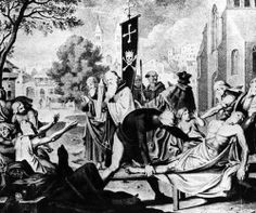 The Black Death is far and away the most lethal epidemic in history. The statistics alone are staggering. The Plague's 13-year reign across the world resulted in at least 75 million deaths, including at least a third of Europe. The pandemic originated as a bubonic plague outbreak in China in the 1330s and was then spread by the fleas of infected rats. Symptoms included fever, headaches, nausea, painful buboes and rashes.