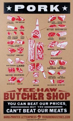 PORK Cuts Meat Market Poster / Hand-printed Letterpress / Pioneer-House.com
