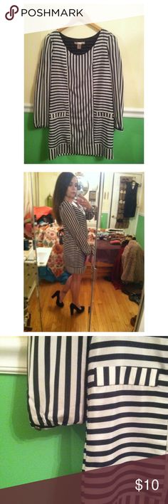 Striped Down Dress with Faux Pockets Adorable chiffon like material dress with vertical and contrasting horizontal stripes. The 'pockets' are non functioning and the dress has a black slip underneath. Only worn once to a job interview. Originally $27 from Forever21 and is in a size small!  *Will offer 15% off of bundles*  #white #black #blackandwhite #dress #shiftdress #cute #striped #stripes #horizontal #horizontalstripes #verticalstripes #vertical #forever21 #forever21dress #love21…