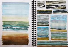 Seaside Studios: Sketchbook pages Lisa Le Quelenec. Some paintings are for sale.