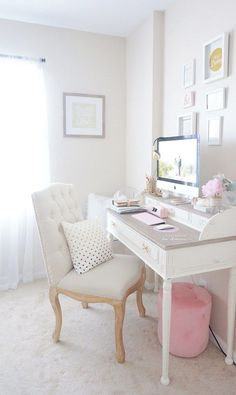 Feminine Home Office - a comfy chair and a pretty desk - 10 Things You Must Have In Your Creative Craft Space!