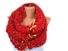 Red Crocheted Cowl  Valentine's Gift   Free Shipping by noyumberry, $30.00