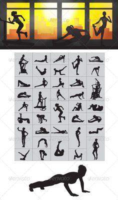 Fitness Silhouettes  #GraphicRiver         Nice and high Detail vector. In this files include AI and EPS versions. You can open it with Adobe Illustrator CS and other vector supporting applications. I hope you like my design, thanks  	 visit my silhouettes collection graphicriver /collections/3119286-silhouettes     Created: 11February13 GraphicsFilesIncluded: VectorEPS #AIIllustrator Layered: No MinimumAdobeCSVersion: CS Tags: aerobic #body #clipart #design #energy #exercise