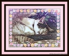 Lily Olivia's Candy Heart Caturday Art Valentine