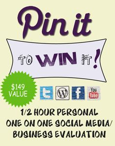 PIN IT and the 1/2 hour personal, ONE ON ONE consult with me could be YOURS by this evening! Pin this and win the 1/2 hour consulting appointment! We'll pick a winner 5/14 at 10:00 PM EST! GET READY, GET SET...PIN!