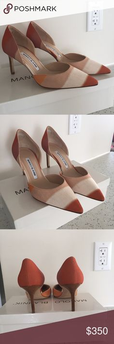 Manolo Blahnik Tayler Striped Linen d'Orsay Pump Brand New In Box (never even tried on) Manolo Blahnik Tayler Beige Linen d'Orsay pumps in a size EU 37.5 which is approximately a US 7-7.5. No Trades, make me a cash offer! Manolo Blahnik Shoes Heels
