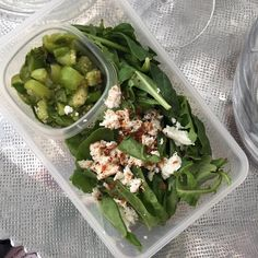 "17 Likes, 2 Comments - Karina Knight, MBA, MS, RD (@karinanutrition) on Instagram: ""Packed lunch: kale & spinach with tomatillo pico de gallo ➕ feta 🧀 ➕ pepper 🌶 flakes ➕ lime juice…"""