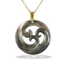 Yellow Gold Carved Tahitian Mother of Pearl Pendant (Chain Included) - Island Lifestyle - Collections