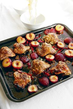 Hugh Fearnley-Whittingstall's recipe for chicken and plums with soy  		  					Tender chicken, crisped on the outside, dressed with sweet plums and soy sauce, and spiced with chilli and ginger