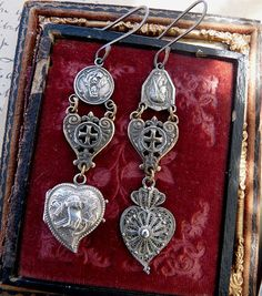 Antique Witches Heart Earrings, Talismans for the Passionate, by RusticGypsyCreations on Etsy, $520.00