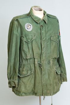 60s Military Parka M-65 US Army Green War is by RoslynVTGTradingCo
