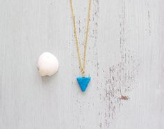New to MoonTideJewellery on Etsy: Brilliant Turquoise Howlite Triangle Necklace - Geometric Pendant in Bright Blue - Minimalistic Vibrant Bohemian Triangle Jewellery (14.99 GBP)