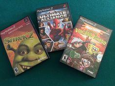 3 PS2 Shrek 2 games, Ultimate Alliance, Shrek 2, and Battle for Volcano Island