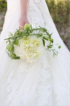 Gorgeous Contemporary Bridal Bouquet Arranged With White Dahlias + Greenery/Foliage Modern Wedding Flowers, White Wedding Bouquets, Bride Bouquets, Bridal Flowers, Floral Wedding, Blush Flowers, Wedding Dresses, Ikebana, White Mums