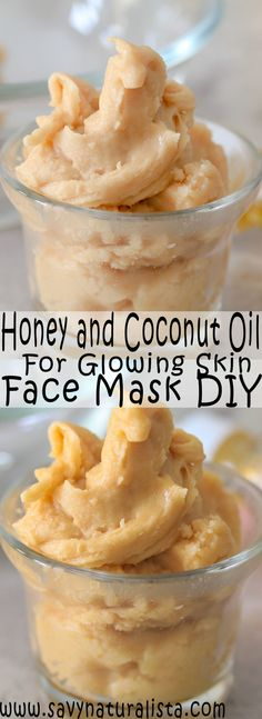 Looking to give your face a dewy and naturally glow look try this two-ingredient face mask. Coconut oil and honey is all you need for this skincare DIY! # diy face mask for glowing skin Honey and Coconut Oil Glowing Face Mask - Savvy Naturalista Glowing Face Mask, Glowing Skin, Glow Mask, Diy Lush, Diy Beauté, Diy Spa, Tips Belleza, Diy Skin Care, Natural Hair Styles
