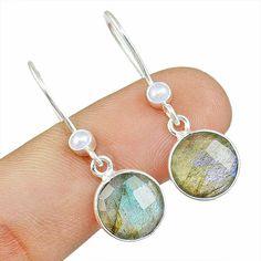 Faceted Labradorite 925 Sterling Silver Earring Allison Co Jewelry E-1341 #Allisonsilverco