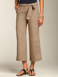 """Dressier than denim and easier to wear than a skirt while in transit, these pants are also perfect island attire. I love them in """"British Khaki"""" for classic versatility. Misses Heritage Fit Cotton Oxford Crop Pants via @Talbots"""