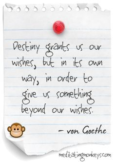 """Destiny grants us our wishes, but in its own way, in order to give us something beyond our wishes."" ~ Johann Wolfgang von Goethe"