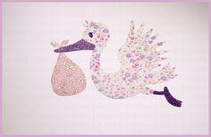 Liberty Fabric Appliqués Thermocollants Liberty La cigogne Liberty Phoebe Rose et Capel avec Tissus Pailletés Violet et Parme de la boutique SublimeLiberty sur Etsy