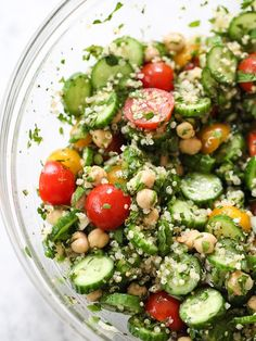 Quinoa Tabbouleh with Chickpeas and Tomatoes | foodiecrush.com