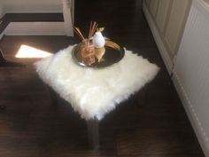 Cute DIY furry ottoman #engineeryourspace inspired - thanks Sue for sharing your project!